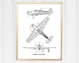 Airplane blueprint etsy hurricane airplane blueprint hawker hurricane aircraft blueprint vintage aircraft decor blueprint wall malvernweather Gallery