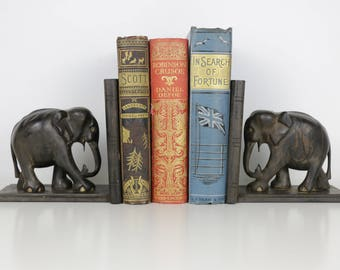 Vintage Elephant Book Ends 1940's Pair