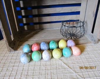 "Lot of 12 Assorted Bright Colors Alabaster Marble Eggs - 1 Dozen Eggs Larger 3 1/2""  Easter Eggs Kitchen Decor"