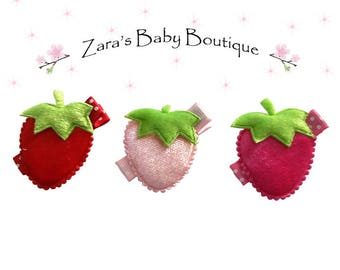 Strawberry Hair Clips * Red Pink Hot Pink * Baby Hair Clip * Girls Hair Clips * Fruit Hair Clips* Toddler * Girl's * Zara's Baby Boutique