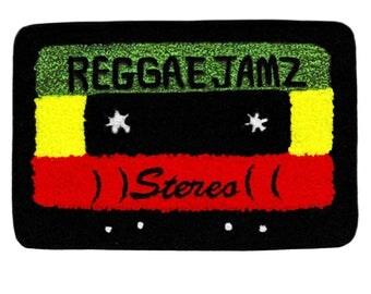 XL Extra Large Vintage Style Chenille Reggae Jamz Rasta Mixtape Cassette Mix Tape DJ Patch Badge (15cm)