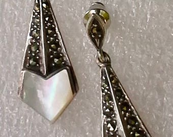Vintage silver marcasite, mother of pearl,  stud dangle earrings.