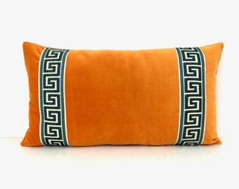 Orange Lumbar Pillow Cover with Greek Key Trim