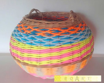 basket/trash multicolor rattan and paper