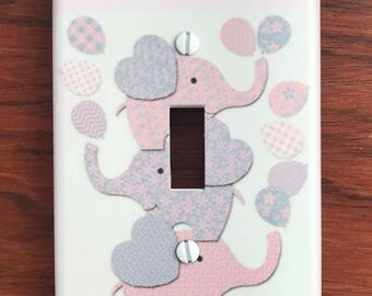 Personalized pink grey elephant balloons family light switch cover decor  // SAME DAY SHIPPING**