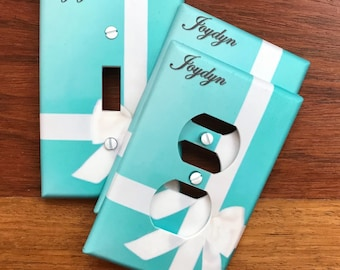 Tiffany Box light switch plate wall cover // Personalized free // SAME DAY SHIPPING !!  **