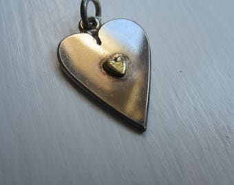 Vintage English Sterling Silver and Brass Heart Pendant-Hallmarked