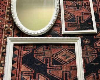 Shabby Chic White Frames and Mirror Set