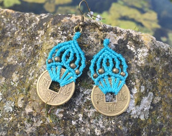 Macrame earrings blue lagoon with brass asian style coins