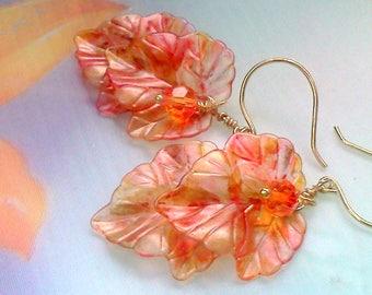 Springtime Orange Leaf Earrings,  Peachy Orange Earrings, Hand Painted Leaf Dangles, Orange Leaf Earrings, Painted Leaves, Two Leaf Earrings