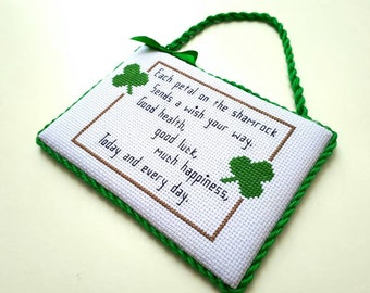 Completed cross stitch ornament, Luck, Shamrock, St.Patrick's day home decor, wall or door hanger, gift idea.