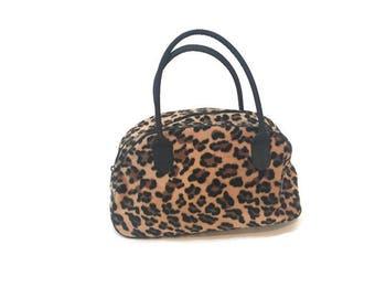 Vintage 90s Fuzzy Leopard Print Top Handle Purse