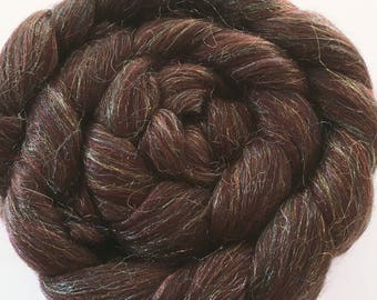 Chocolate Sparkle Merino and Sparkle blend for spinning and felting 100g