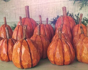 Pumpkins,Wood Carved, (16) in all.