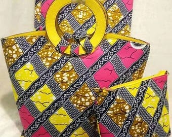 10% Discount use code BAGS10 -  PETIZ Mixed PVC African Print Bag + Purse.