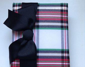 Silk Plaid Photo Album with Black Ribbon - Holds 100 4x6 Photos