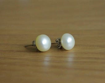 June birthstone, freshwater pearl earrings, bridal earrings, sterling silver studs, bridal jewellery, lemon stud earrings, yellow earrings