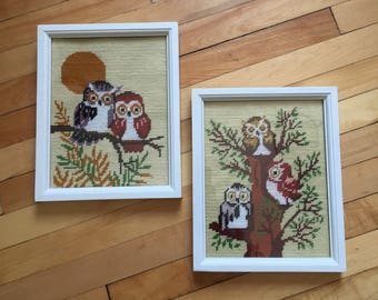Vintage 1970s Owl Needlepoint Embroidery Stitched Pictures Art!