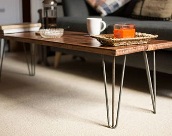 Reclaimed Industrial Mahogany Coffee Table With Hairpin Legs
