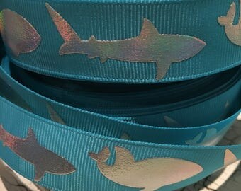 "7/8"" Silver Shark Ocean Nautical fish grosgrain ribbon"