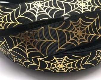 3 yards Halloween Gold Metallic Spider Web grosgrain ribbon