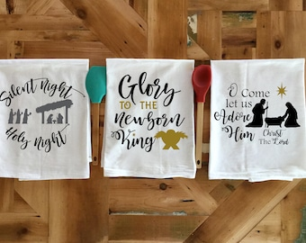 Christmas Flour Sack Towels, 3 Dish Towels, Tea Towels,  Kitchen Towels, Housewarming Gift, Christmas Gift, Christmas Towels, Christmas