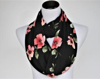 Poppy scarf pink coral black Floral scarf Infinity scarf floral print scarf feminine scarf hibiscus flowers scarf super soft loop scarf