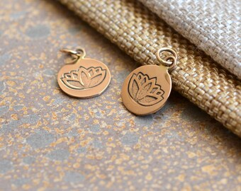Round Bronze Lotus Flower Charm,Hill Tribe Lotus,Small Round Bronze Lotus,Lotus Charm,Yoga Jewelry,Bronze Lotus Bracelet Charm,Pairs,ST14-21