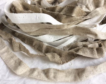 Handmade linen fabric ribbon, rough rustic linen fabric cut edge, flax trim for rug rag, banner, crafts