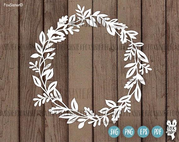 wreath monogram svg    pdf blank circle floral frame