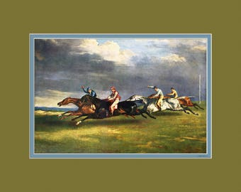 Theodore Gericault - The Epsom Derby 1821 - With a Digital Mat