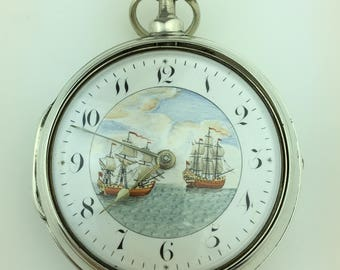 Antique Georgian 18thC solid silver verge fusee pocket watch Ship Galleon