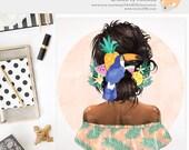 3 FOR 2. Summer Girl Clipart, Watercolor Fashion Illustration, Tropical Hair, Boho Beach, Black Fashionista, Animal Toucan Clip Art, Fruit.
