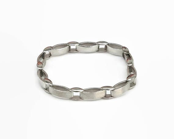 Sterling silver link bracelet with combination of smooth and brushed metal links, bar and link chain, 24 grams, 8 inches / 20 cm, unisex