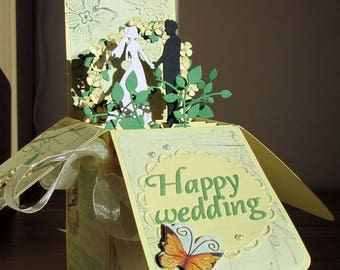 Wedding card in a box, Wedding pop up Card, Romantic Card, Wedding Celebration, 3D Wedding card, Custom wedding card