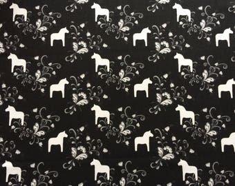 Scandinavian Cotton fabric - Dala Horse Black/White -  59 inches (150 cm) wide