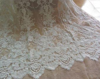 Embroidery silk fabric,crinkle silk chiffon lace fabric in off white,wedding dress fabric-ZSME0012