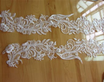1pair embroidery lace appliques 75cm*12.5cm,bridal wedding ivory lace applique pair in ivory for wedding, bridals, gowns