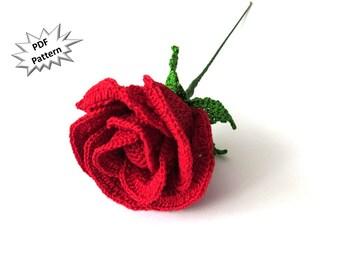 Crochet half open rose pattern long stem rose hybrid tea rose home Decor bridal bouquets