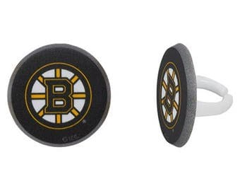 12 Boston Bruins Cupcake Rings NHL Hockey Toppers Party Favors