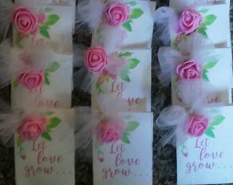 24 Wedding party favors Let Love Grow- Seed