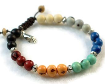 Yoga Syle Bracelet, Chakra Bracelet, Meditation jewelry, organic bracelet, adjustable bracelet, acai beads, acai bracelet, eco bracelet