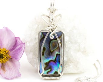 Abalone Shell Pendant - Sterling Wire Wrapped Necklace - Argentium Sterling Jewelry - Abalone Shell Necklace - Shell Jewelry - Gift For Her