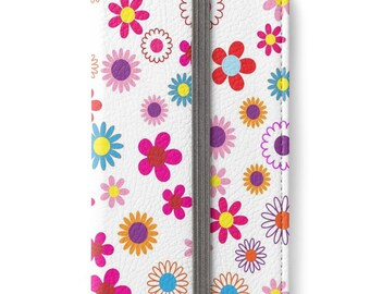 Folio Wallet Case for iPhone 8 Plus, iPhone 8, iPhone 7, iPhone 6 Plus, iPhone SE, iPhone 6, iPhone 5s - Retro ditsy floral design Case