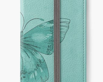 Folio Wallet Case for iPhone 8 Plus, iPhone 8, iPhone 7, iPhone 6 Plus, iPhone SE, iPhone 6, iPhone 5s - Turquoise Butterfly Design
