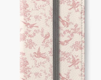 Folio Wallet Case for iPhone 8 Plus, iPhone 8, iPhone 7, iPhone 6 Plus, iPhone SE, iPhone 6, iPhone 5s - Pink & Cream Vintage French Floral