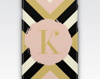 Case for iPhone 8, iPhone 6s,  iPhone 6 Plus,  iPhone 5s,  iPhone SE,  iPhone 5c,  iPhone 7,  Pink, Black & White Chevron Monogrammed Case