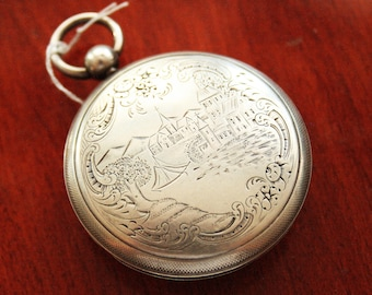 Antique  Verge Fusee French Pocket Watch - Sterling SIlver - Montre Coq 1800s - NOT WORKING