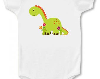 """805CLE - SALE! Meet """"DINO"""" On Our White 100% Cotton, Short Sleeve Infant Bodysuit...!"""