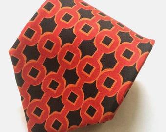 Hermes Paris 214 FA Link Pattern Red/Black Silk Necktie Tie
